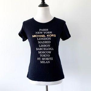 Michael Kors Navy Blue Cities Tee Shirt